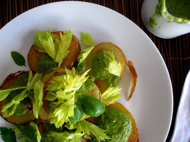 Crispy Potato salad with Anchovy Chimichurri - in the know mom