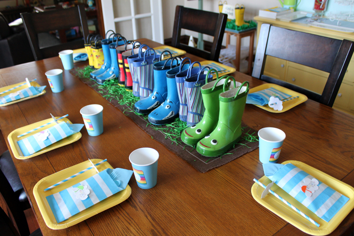 birthday party rain boots clouds