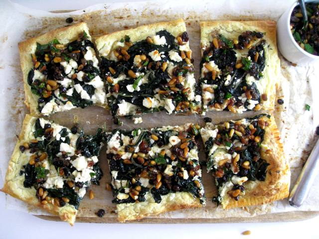 Swiss Chard Tart with Goats Cheese Currants & Pine Nuts - in the know ...