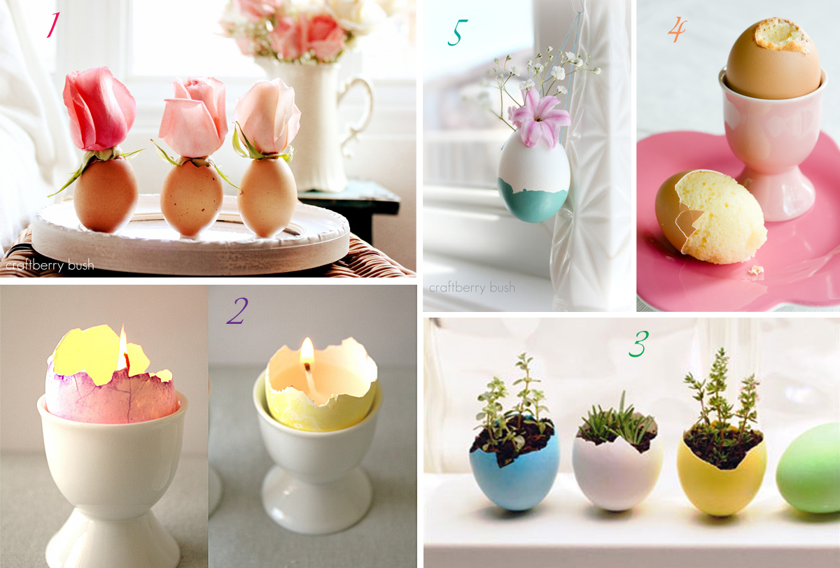 Easter Eggshell DIY projects vases votives planter