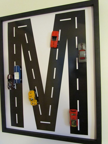 {DIY} Race Car Track Monogram wall room monogram boys art