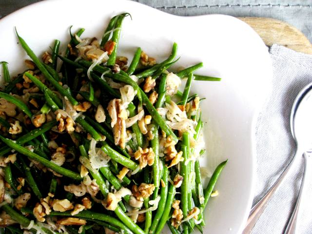 Green Beans with brown butter, wild mushrooms