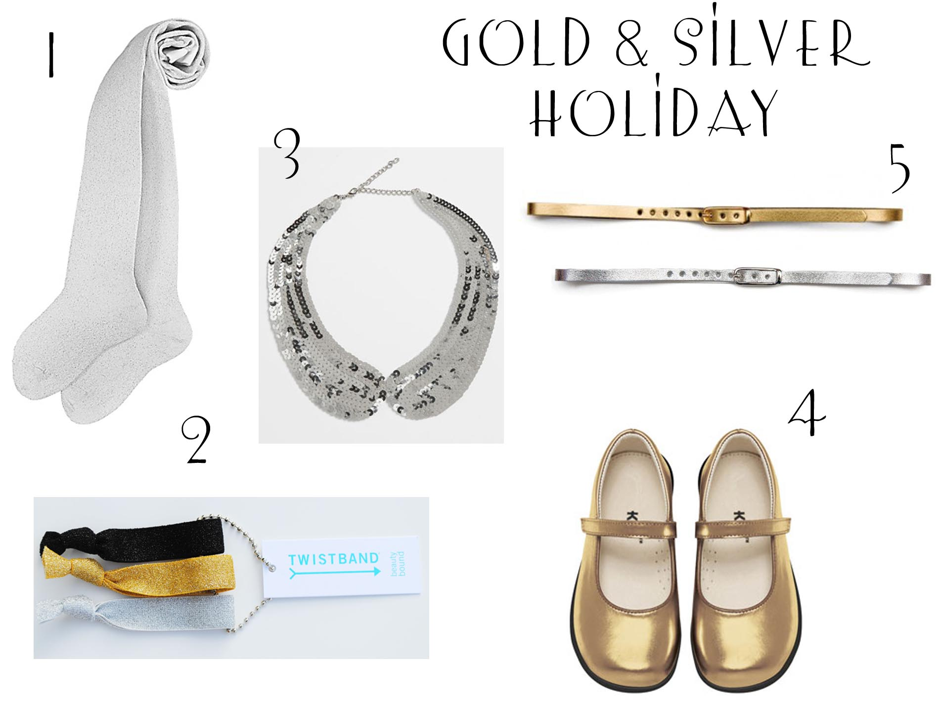 gold and silver holiday accesories for girls